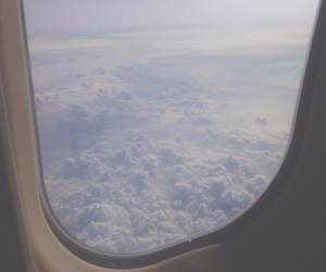 airplane, clouds, and plane image
