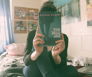 girl, sylvia plath, and book image