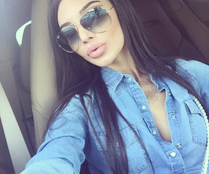 brunette, lips, and style image