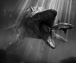 black and white, creature, and jurassic world image