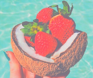 strawberry, summer, and coconut image
