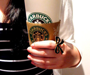 coffee, starbucks, and bow image