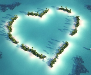 heart, Island, and sea image