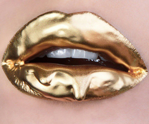 gold, lips, and makeup image