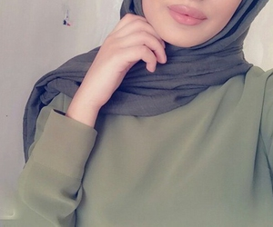 hijab, lips, and woman image