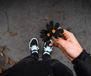 black, flowers, and grunge image