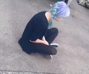 girl, grunge, and blue purple hair image