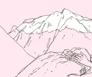 aesthetic, mountains, and pink image