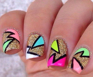 nails, gold, and nailart image
