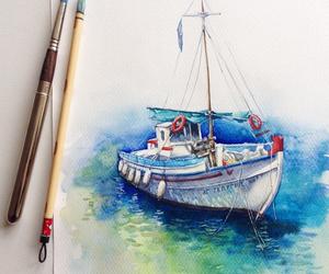 art, drawing, and boat image