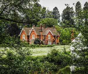 countryside, forest, and house image