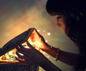 girl, magic, and light image
