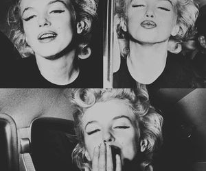 Marilyn Monroe, black and white, and kiss image