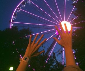 night, attractions, and friends image