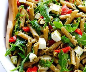 food, salad, and pasta image
