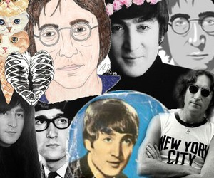 beatles, Collage, and john image