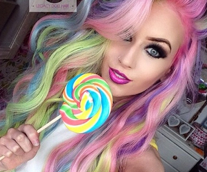 hair, rainbow, and lollipop image