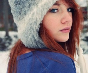 hair, snow, and red image