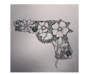 flowers, gun, and drawing image