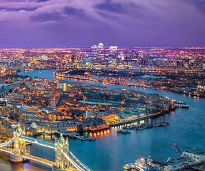 london, city, and lights image