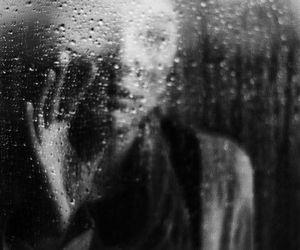 sad, black and white, and rain image