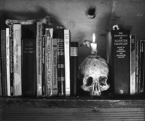 books, black, and black and white image