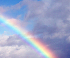 rainbow, clouds, and colorful image