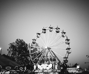 amusement park, black, and black and white image