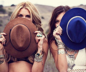 girl, friends, and hat image