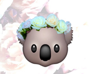 Koala, emoji, and flowers image