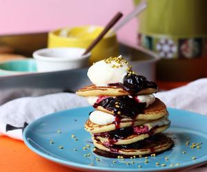 food, pancake, and pancakes image