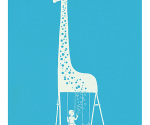 giraffe and bubbles image
