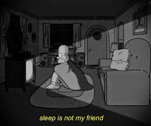 sleep, black and white, and simpsons image