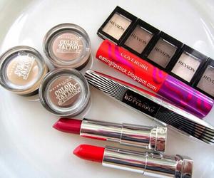 makeup, lipstick, and mascara image