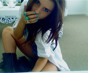brunette and nails image