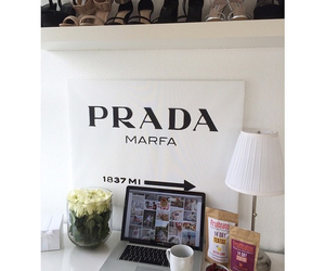 desk, macbook, and Prada image