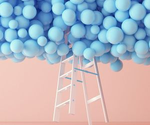 blue, balloons, and pink image