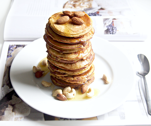 banana pancakes, breakfast, and delicious image