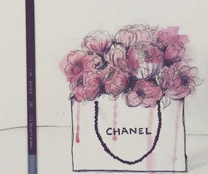 art, chanel, and flowers image