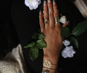nails, flowers, and rings image