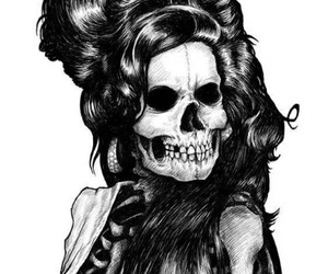 skull, black and white, and Amy Winehouse image