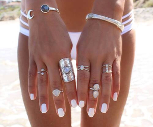 beach, nails, and rings image