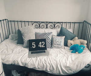 bedroom, black and white, and teen image