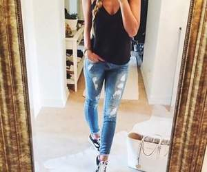girl, jeans, and shirt image