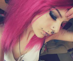 alternative, piercing, and pink hair image