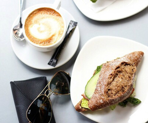 food porn, sandwich, and sunglasses image
