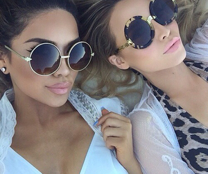 girl, sunglasses, and friends image