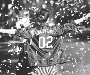 black and white, Chan, and confetti image