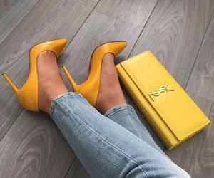 heels, yellow, and girl image