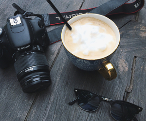 camera, canon, and coffee image